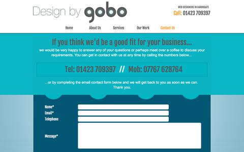 Screenshot of Contact Page designbygobo.com - Web Designers in Harrogate : Contact Design By GOBO - captured June 4, 2017