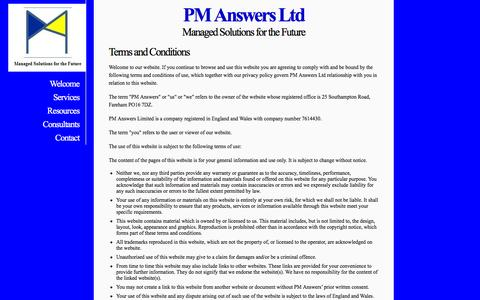 Screenshot of Terms Page pm-answers.com - PM Answers Ltd - Terms & Conditions - captured Jan. 22, 2016
