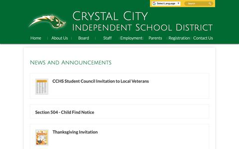 Screenshot of Press Page crystalcityisd.org - Crystal City Independent School District - captured Nov. 5, 2018
