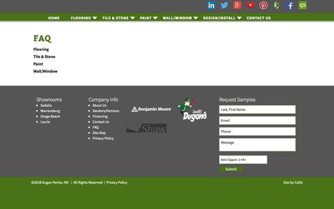 Screenshot of FAQ Page duganpaints.com - FAQ | Dugans Paint - captured Oct. 9, 2018