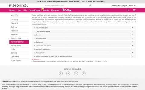 Screenshot of Terms Page fashionandyou.com captured April 14, 2017