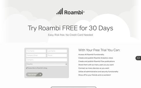 Screenshot of Trial Page roambi.com - Get Your Free Roambi Business 30-Day Trial - Roambi - captured Sept. 17, 2014