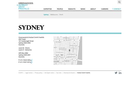 Screenshot of Contact Page gf.com.au - Sydney - Contact - Greenwoods - captured Dec. 16, 2018