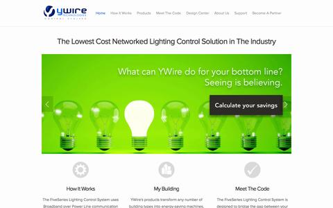 Screenshot of Home Page ywiretech.com - Lighting Control by YWire Technologies, Inc. - captured Sept. 5, 2015