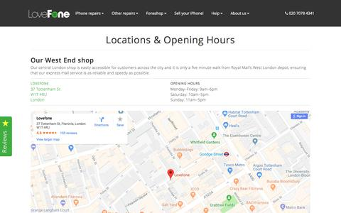 Screenshot of Locations Page lovefone.co.uk - Locations & Opening Hours - Lovefone, London - captured July 4, 2018