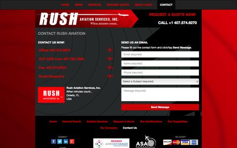 Screenshot of Contact Page rushaviationservices.com - Rush Aviation Services - When Minutes Count... | Contact Us for a Free Quote Today - captured Nov. 4, 2014