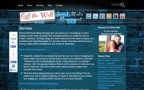 Screenshot of Services Page offthewallsocial.com - Services - Off the Wall Social Media Management Off the Wall Social Media Management - captured Oct. 27, 2014