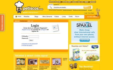 Screenshot of Login Page petiscos.com - Login - Receitas, Culinária, Gastronomia - Petiscos.com - captured Nov. 4, 2014