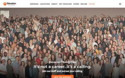 Screenshot of Jobs Page elevationchurch.org - Jobs - Elevation Church - captured June 7, 2019
