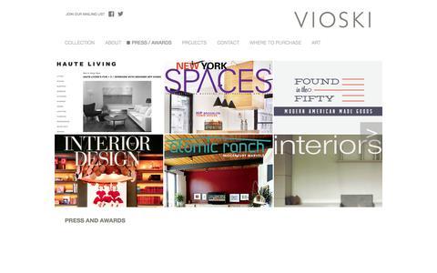 Screenshot of Press Page vioski.com - Press & Awards · VIOSKI - captured Oct. 7, 2014