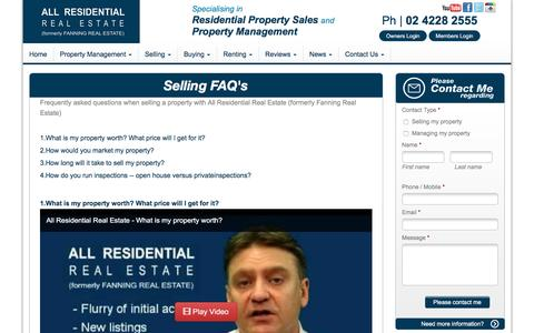 Screenshot of FAQ Page allresidentialrealestate.com.au - Selling My Property | Frequently Asked Questions - captured April 15, 2016
