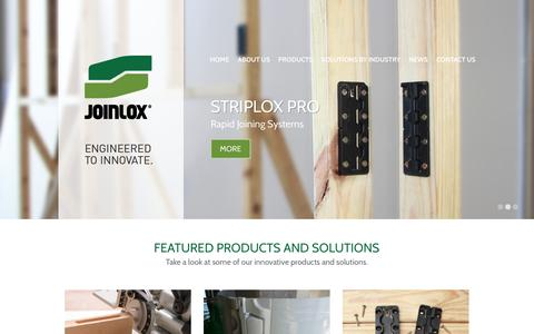 Screenshot of Home Page joinlox.com - Joinlox - Patented Mechanical Joining Systems - captured Sept. 30, 2014