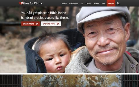 Screenshot of Home Page biblesforchina.org - Home | Bibles for China - captured Sept. 30, 2014