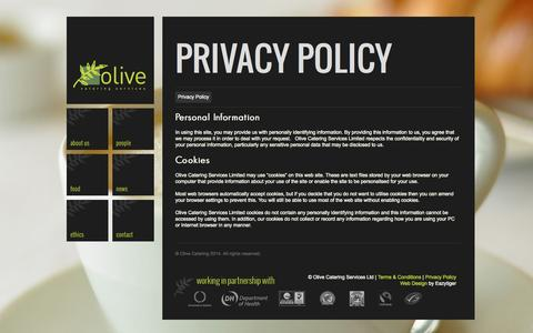 Screenshot of Privacy Page olive-catering.com - Privacy Policy - Olive Catering | Olive Catering - captured Oct. 26, 2014