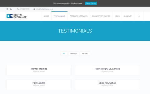 Screenshot of Case Studies Page thedigitalgroup.co.uk - Case Studies and Testimonials - Digital Exchange Ltd - captured Oct. 9, 2018