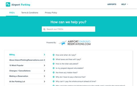 Screenshot of Privacy Page FAQ Page Terms Page airportparking.com - AirportParking.com - Help & FAQs - captured Nov. 2, 2018