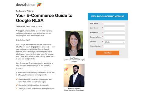 Screenshot of Landing Page channeladvisor.com - Your E-Commerce Guide to Google RLSA | ChannelAdvisor - captured July 21, 2016