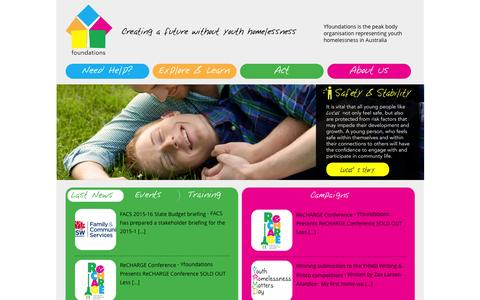 Screenshot of Home Page yfoundations.org.au - Yfoundations Creating a future without youth homelessness - captured Aug. 4, 2015