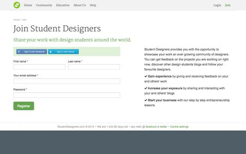 Screenshot of Signup Page studentdesigners.com - Join Student Designers, the ultimate design network - captured Oct. 8, 2014