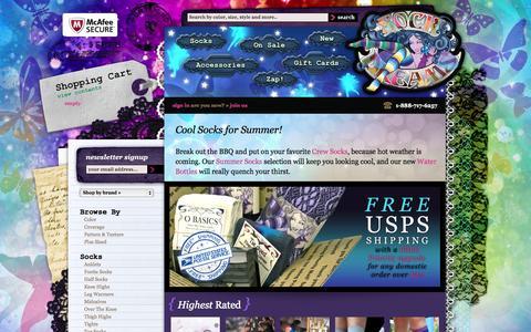 Screenshot of Home Page sockdreams.com - Sock Dreams - Unique Comfy Colorful Sexy Socks - captured Sept. 19, 2014