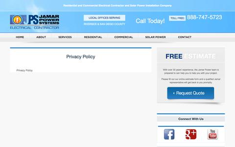Screenshot of Privacy Page jamarpower.com - Privacy Policy - captured Nov. 3, 2014