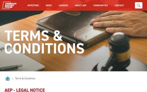 Screenshot of Terms Page aep.com - Terms & Conditions - captured Nov. 18, 2018