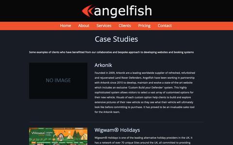 Screenshot of Case Studies Page angelfishsoftware.com - Angelfish - Websites Online Booking and Business Management Software - captured Oct. 22, 2018