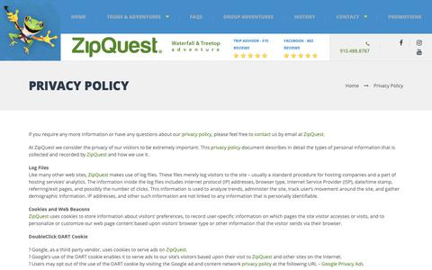 Screenshot of Privacy Page zipquest.com - Privacy Policy - ZipQuest Waterfall & Treetop Adventure - Zip Line North Carolina - captured Oct. 18, 2018