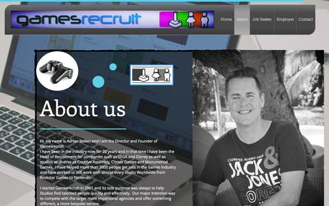 Screenshot of About Page gamesrecruit.co.uk - gamesrecruit   About - captured Oct. 26, 2016