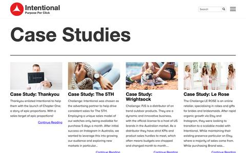 Screenshot of Case Studies Page intention.al - Case Studies | Intentional - captured Oct. 10, 2018