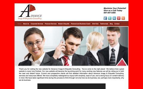 Screenshot of Home Page advanceimageconsulting.com - Advance Image & Etiquette Consulting - Image Consulting - Toronto - captured Oct. 3, 2018