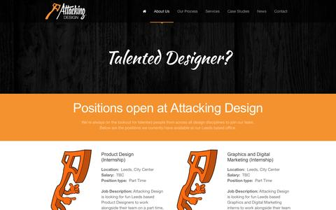Screenshot of Jobs Page attackingdesign.com - Attacking Design | Careers | Graphic & Product Design Leeds - captured Dec. 27, 2015