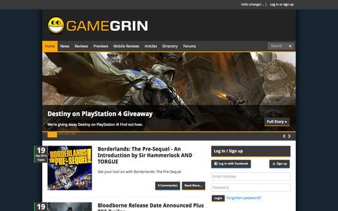 Screenshot of Home Page gamegrin.com - Home - GameGrin - captured Sept. 22, 2014