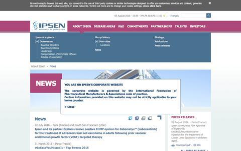 Screenshot of Press Page ipsen.com - News | Ipsen – Groupe pharmaceutique - captured Aug. 6, 2016