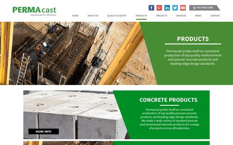 Screenshot of Products Page permacast.com.au - Products - Permacast - captured July 14, 2018