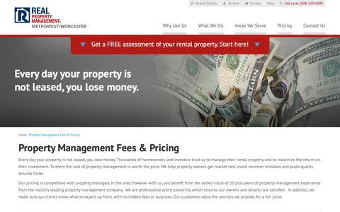 Screenshot of Pricing Page metrowestrpm.com - Property Management Fees MetroWest MA | Real Property Management MetroWest Worcester - captured Oct. 18, 2018