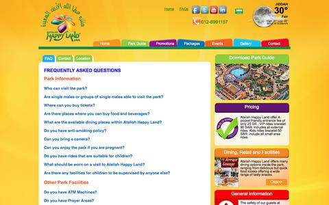 Screenshot of FAQ Page atallahpark.com - Atallah Happy Land Park in Jeddah | Frequently Asked Question - captured Oct. 4, 2014