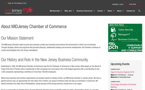 Screenshot of About Page midjerseychamber.org - About MIDJersey Chamber of Commerce - MIDJersey Chamber - captured Oct. 1, 2018