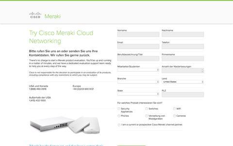 Screenshot of Landing Page cisco.com - Cisco Meraki | Meraki | Request Evaluation - captured April 8, 2017