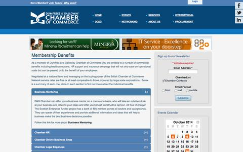 Screenshot of Services Page dgchamber.co.uk - Dumfries & Galloway Chamber of Commerce - Services - captured Oct. 5, 2014