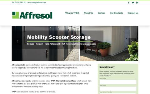 Screenshot of Home Page affresol.com - Affresol | TPR synthetic concrete | Green Technology at Work - captured Oct. 19, 2018