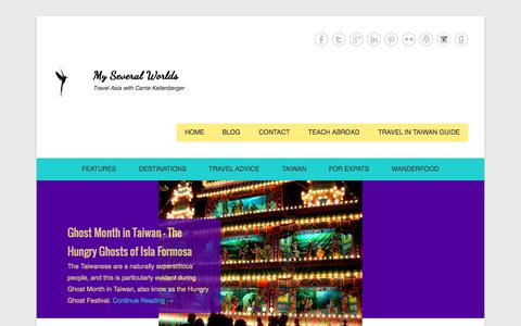 Screenshot of Home Page Menu Page myseveralworlds.com - MY SEVERAL WORLDS - Travel Asia with Me! - captured Sept. 18, 2014