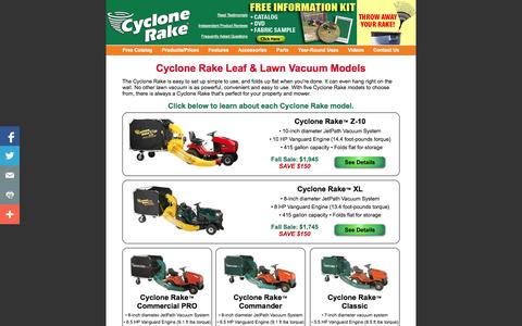 Screenshot of Products Page cyclonerake.com - Cyclone Rake Lawn Vacuums: Product Lineup - captured Oct. 26, 2014