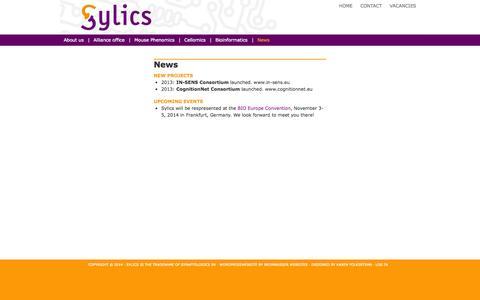 Screenshot of Press Page sylics.com - News - captured Oct. 6, 2014