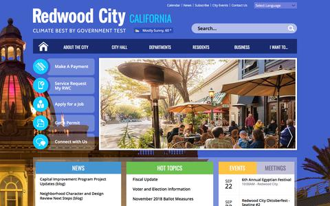 Screenshot of Home Page redwoodcity.org - City of Redwood City | Home - captured Sept. 22, 2018