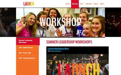 Screenshot of Services Page launchleadership.org - Summer Leadership Camps - captured Sept. 29, 2014