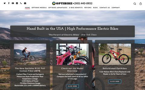 Screenshot of Home Page optibike.com - Optibike   The Best High Performance Long Range Electric Bikes - captured Dec. 10, 2018