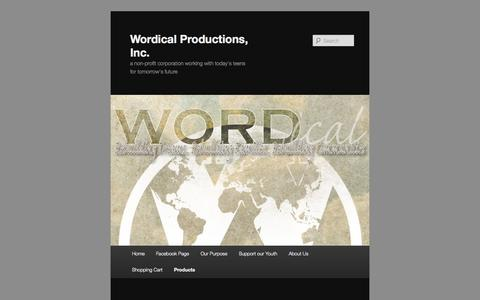Screenshot of Products Page wordical.com - Products | Wordical Productions, Inc. - captured Oct. 9, 2014