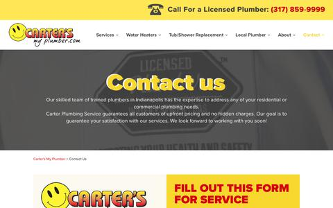 Screenshot of Contact Page cartersmyplumber.com - Contact Us at Carter's My Plumber for plumbing service - captured July 16, 2017