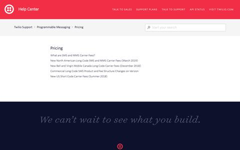 Screenshot of Support Page twilio.com - Pricing – Twilio Support - captured June 13, 2019